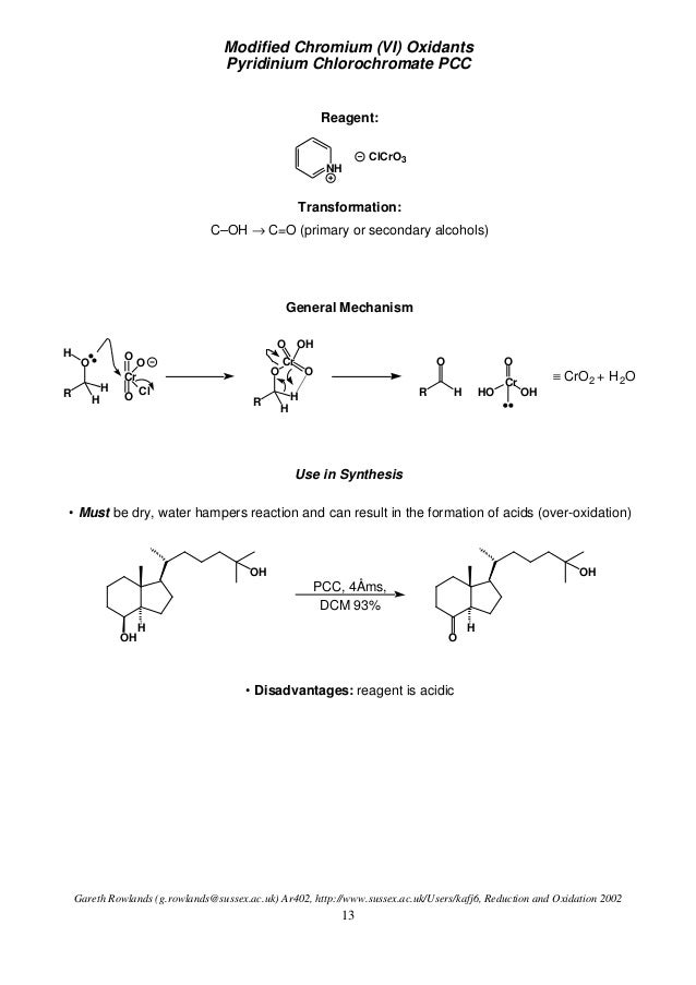 alcohol oxidation Alcohol oxidation mechanism tutorial video using h2cro4, pcc and kmno4 tutorial video learn the step by step mechanism for reacting primary and secondary alcohols with strong and weak oxidizing reagents.