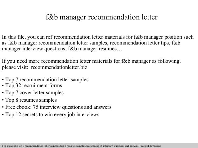 Great Fu0026b Manager Recommendation Letter In This File, You Can Ref Recommendation  Letter Materials For Fu0026b ...