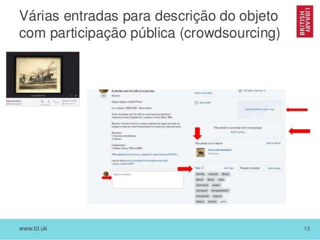 www.bl.uk 13 Várias entradas para descrição do objeto com participação pública (crowdsourcing)