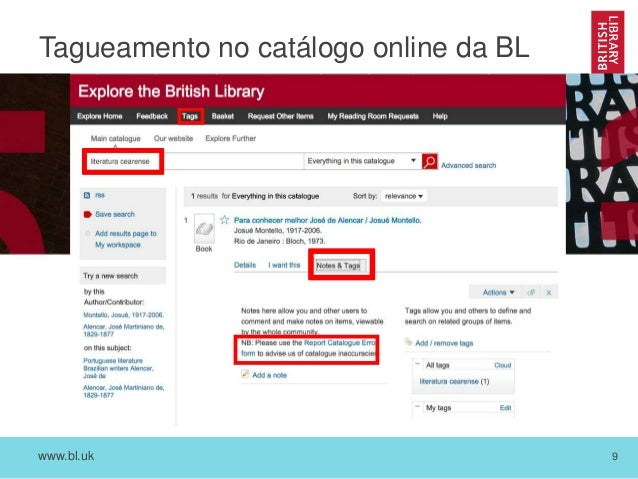 www.bl.uk 9 Tagueamento no catálogo online da BL