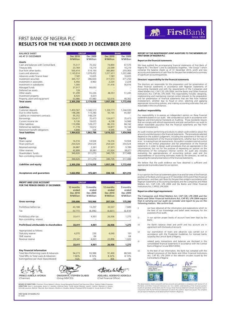 FirstBank Nigeria Result for the Year Ended 31st December 2010