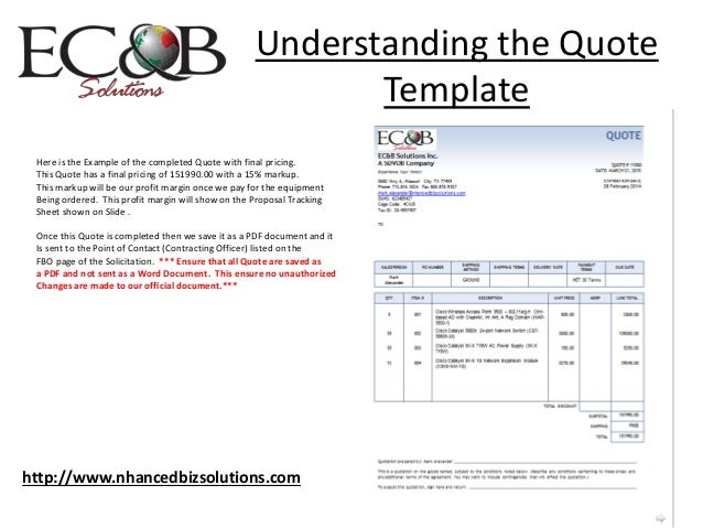Steps To Providing Quotes Utilizing Federal Business Opportunities - Official quote template