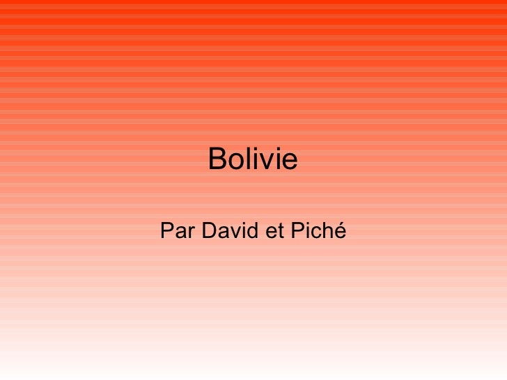 Bolivie Par David et Piché