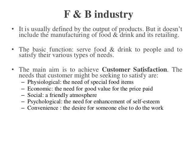 Food And Beverage Department Definition