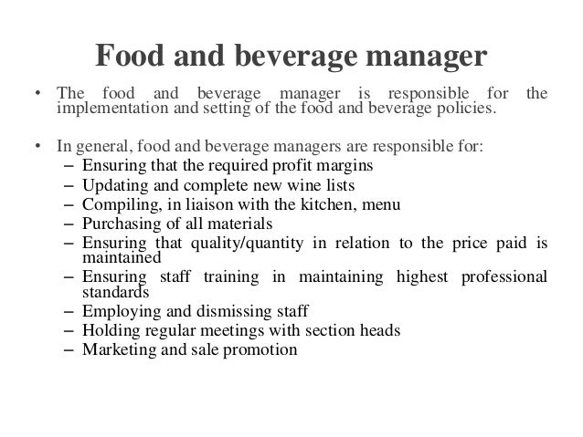 High Quality Catering Manager Job Description . Food And Beverage Manager .