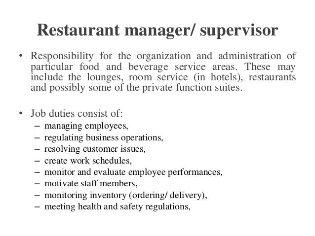 Room Service Manager Responsibilities
