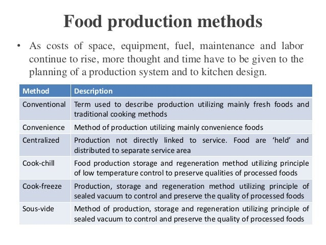 Fresh Cook Food Production System