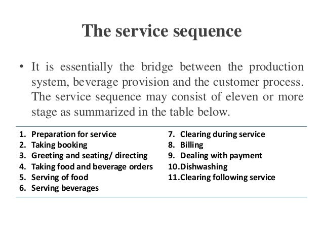 Service Sequence In Serving Food And Beverage