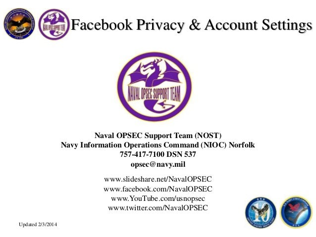 Naval OPSEC Support Team (NOST) Navy Information Operations Command (NIOC) Norfolk 757-417-7100 DSN 537 opsec@navy.mil www...