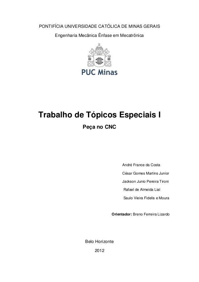 PONTIFÍCIA UNIVERSIDADE CATÓLICA DE MINAS GERAIS Engenharia Mecânica Ênfase em Mecatrônica  Trabalho de Tópicos Especiais ...