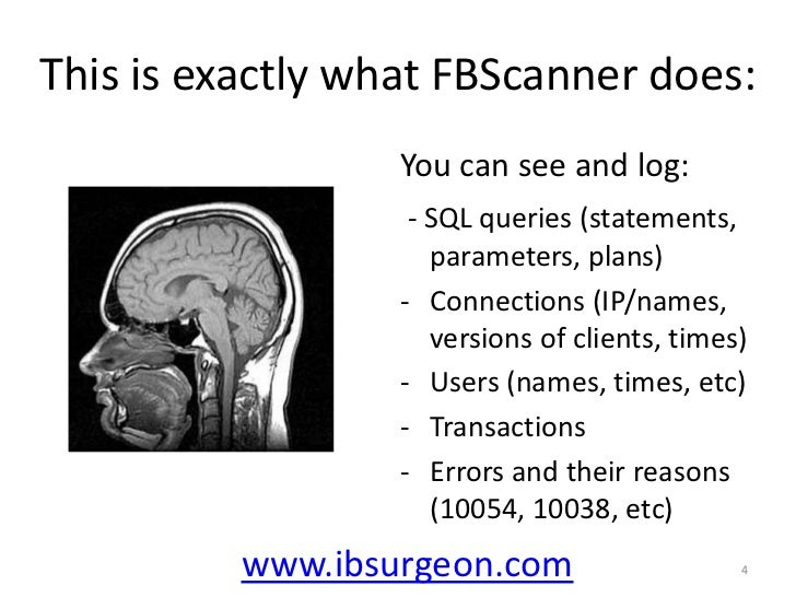 This is exactly what FBScanner does:<br />You can see and log:<br />- SQL queries (statements, parameters, plans)<br /><ul...