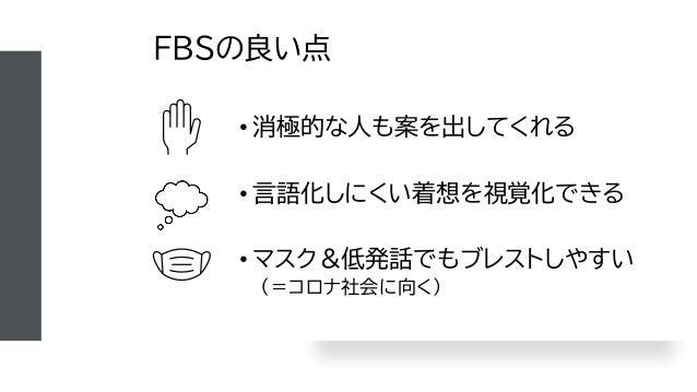 FBSの良い点 • 消極的な人も案を出してくれる • 言語化しにくい着想を視覚化できる • マスク&低発話でもブレストしやすい (=コロナ社会に向く)