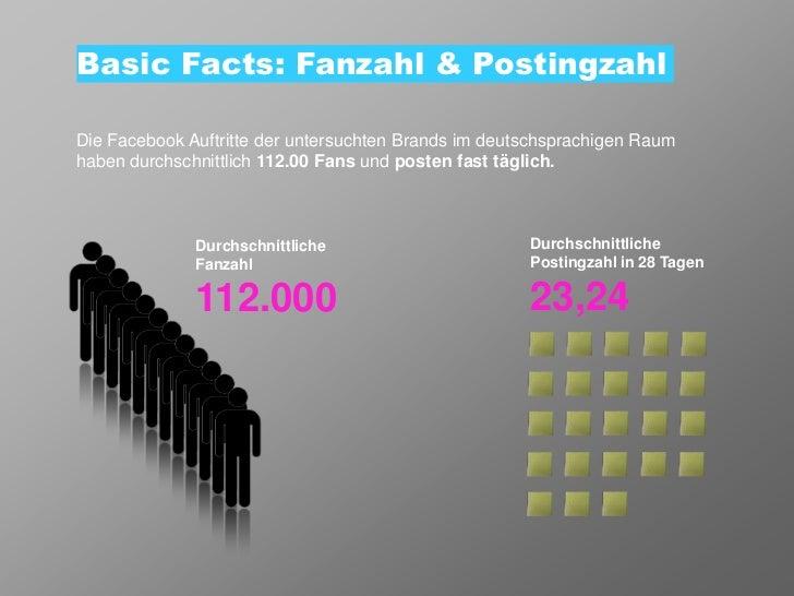 Basic Facts: Fanzahl & PostingzahlDie Facebook Auftritte der untersuchten Brands im deutschsprachigen Raumhaben durchschni...