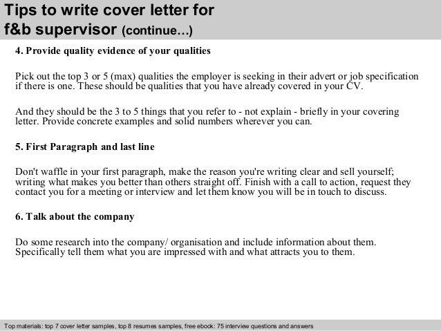 F Amp B Supervisor Cover Letter