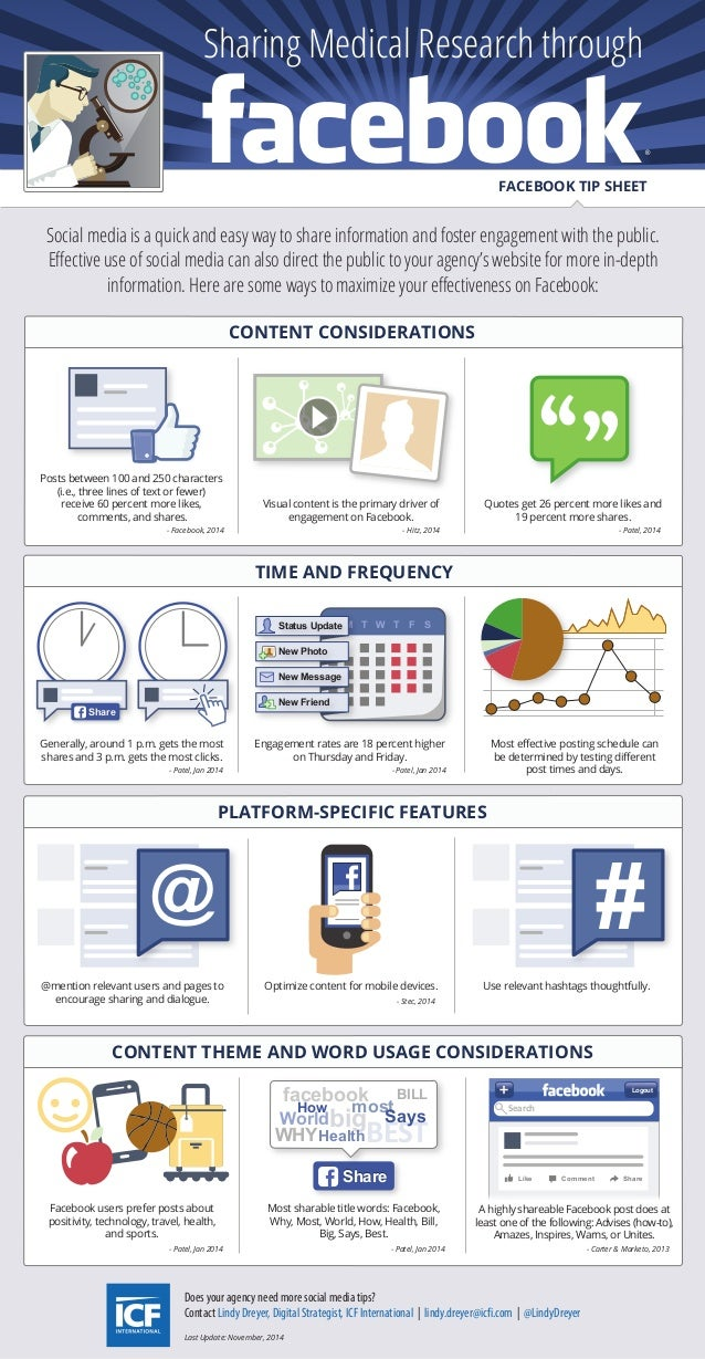 Sharing Medical Research through  FACEBOOK TIP SHEET  Social media is a quick and easy way to share information and foster...