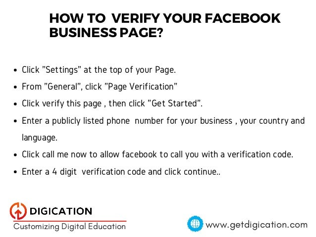 Getting a Facebook page verified