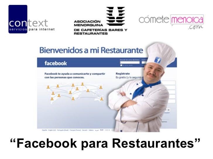"""""""Facebook para Restaurantes"""""""