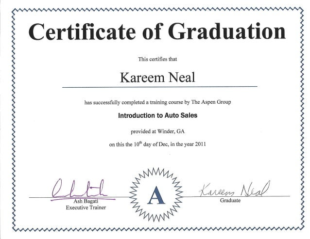 Auto Sales Training Certificate  Certificate For Training