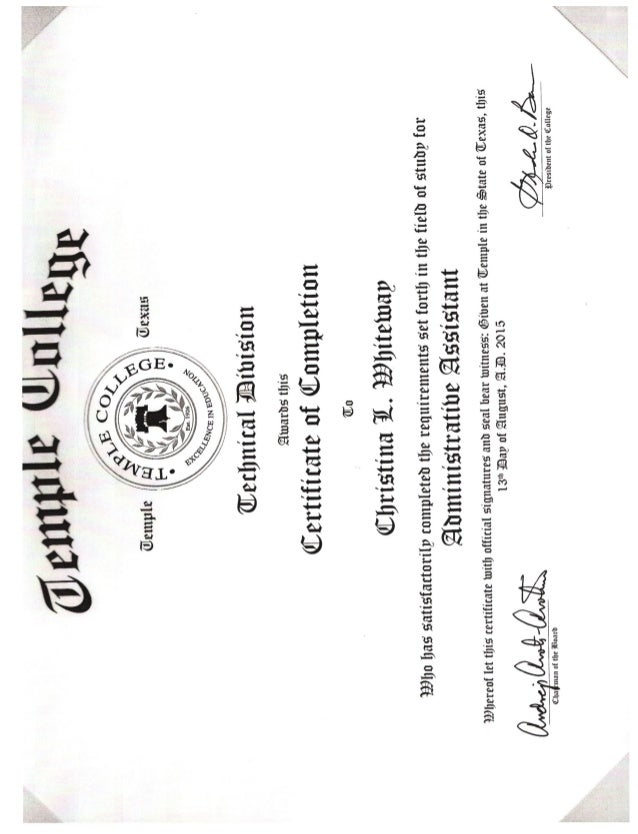 Administrative Assistant Certificate 8-13-2015 2