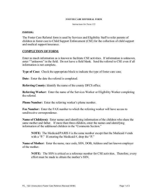 Fc 122 i instruction foster care referral instructions