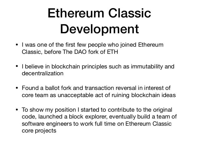 Ethereum Classic Development • I was one of the first few people who joined Ethereum Classic, before The DAO fork of ETH  •...
