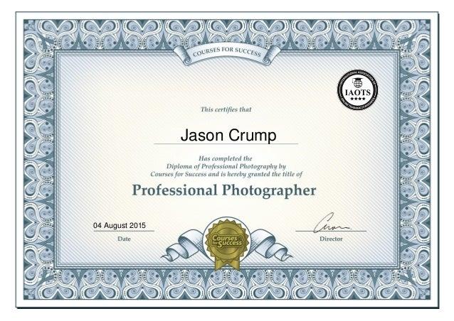 Diploma of Professional Photography Certificate - Jason Crump