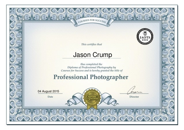 Diploma of Professional Photography Certificate - Jason Crump