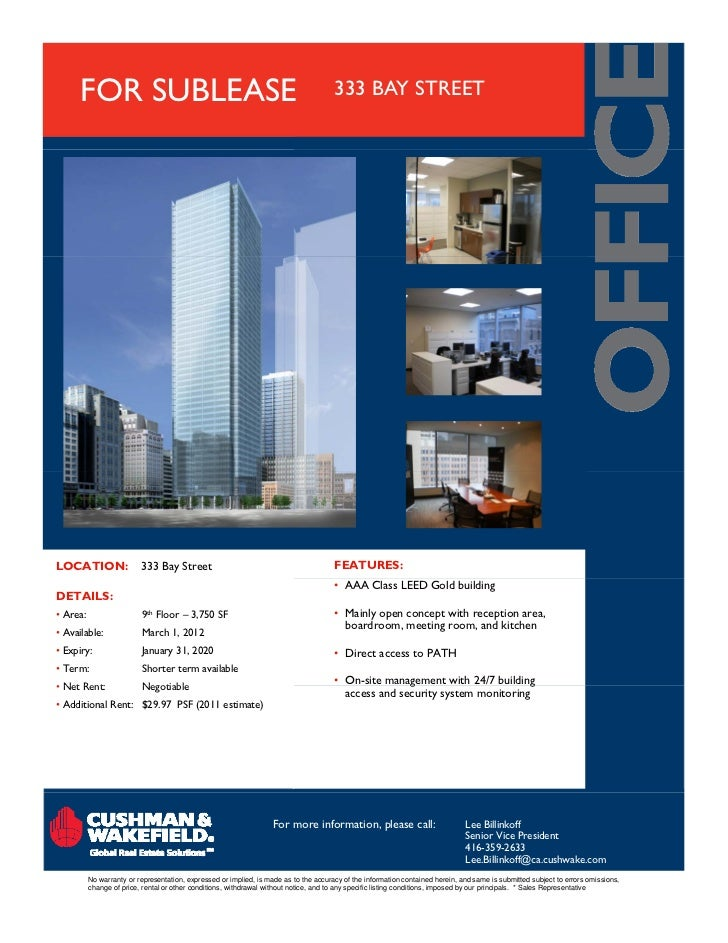 FOR SUBLEASE                                                                     333 BAY STREETLOCATION:                 3...