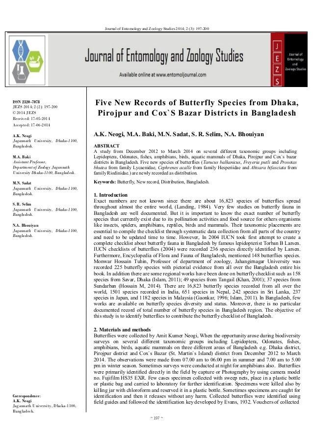 ~ 197 ~ Journal of Entomology and Zoology Studies 2014; 2 (3): 197-200 ISSN 2320-7078 JEZS 2014; 2 (2): 197-200 © 2014 JEZ...
