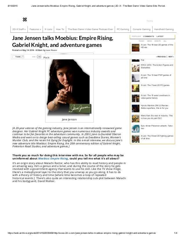Jane Jensen talks Moebius_ Empire Rising, Gabriel Knight, and adventu…
