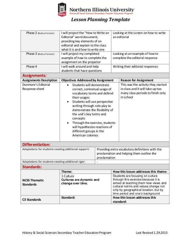 Thematic Lesson Plan Template Idealstalist