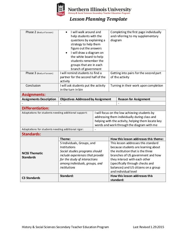 Nice Calla Lesson Plan Template Pictures Inspiration Examples