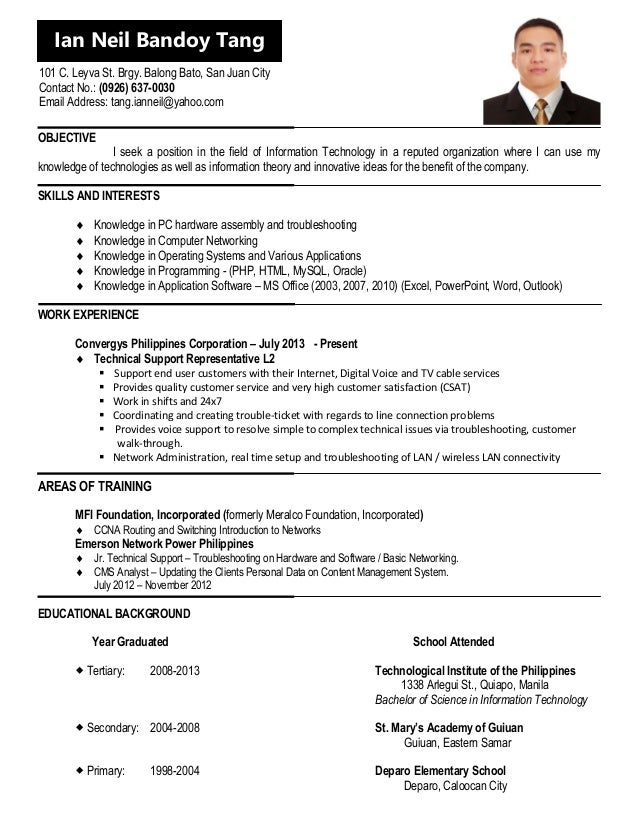 Resume Sample Resume At Jobstreet cv update for jobstreet objective i seek a position in the field of information technology reputed organization where