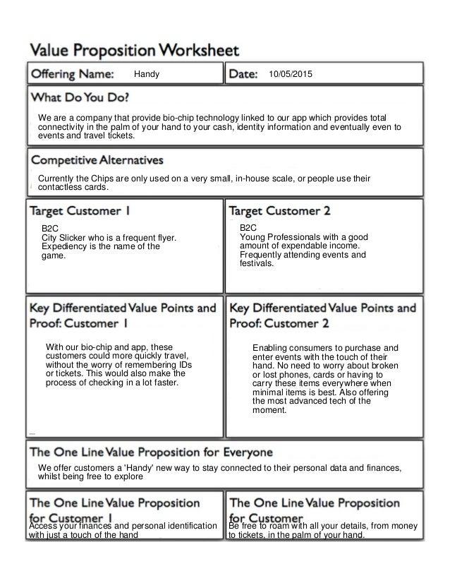 Value Proposition Worksheet – Personal Values Worksheet