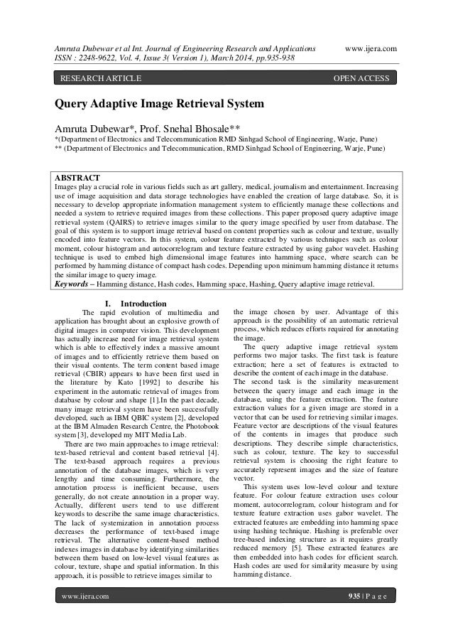 Amruta Dubewar et al Int. Journal of Engineering Research and Applications www.ijera.com ISSN : 2248-9622, Vol. 4, Issue 3...