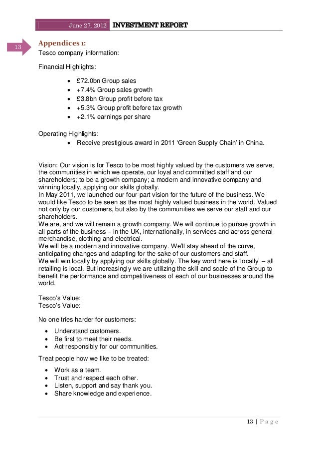 June 27, 2012 INVESTMENT REPORT 13   P a g e 13 Appendices 1: Tesco company information: Financial Highlights:  £72.0bn G...