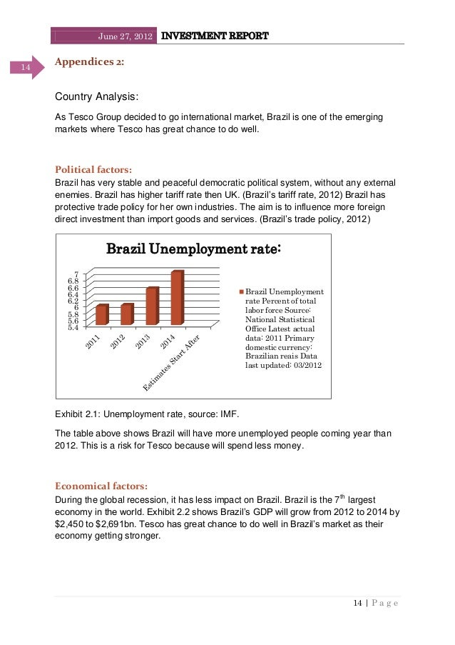 June 27, 2012 INVESTMENT REPORT 14   P a g e 14 Appendices 2: Country Analysis: As Tesco Group decided to go international...