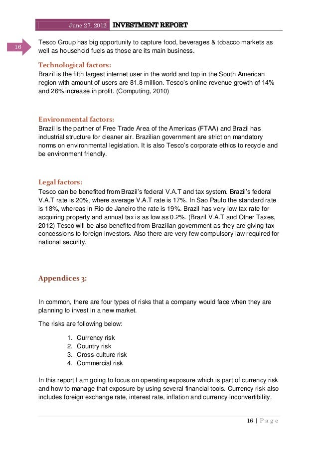 June 27, 2012 INVESTMENT REPORT 16   P a g e 16 Tesco Group has big opportunity to capture food, beverages & tobacco marke...