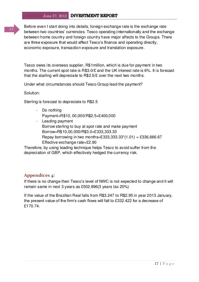 June 27, 2012 INVESTMENT REPORT 17   P a g e 17 Before even I start doing into details, foreign exchange rate is the excha...