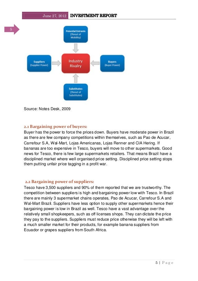 June 27, 2012 INVESTMENT REPORT 5   P a g e 5 Source: Notes Desk, 2009 2.1 Bargaining power of buyers: Buyer has the power...