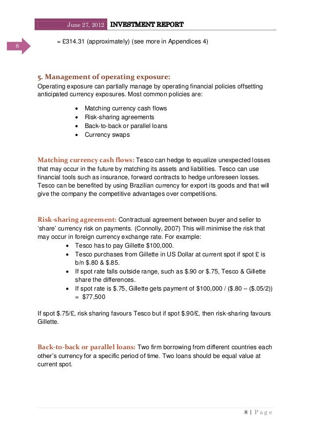 June 27, 2012 INVESTMENT REPORT 8   P a g e 8 = £314.31 (approximately) (see more in Appendices 4) 5. Management of operat...