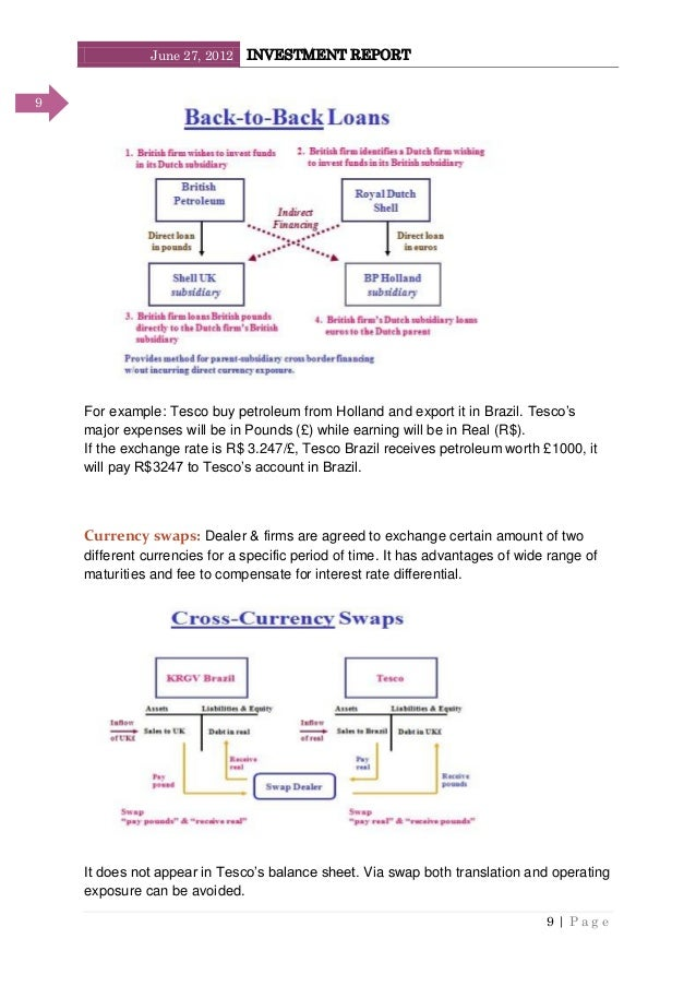 June 27, 2012 INVESTMENT REPORT 9   P a g e 9 For example: Tesco buy petroleum from Holland and export it in Brazil. Tesco...