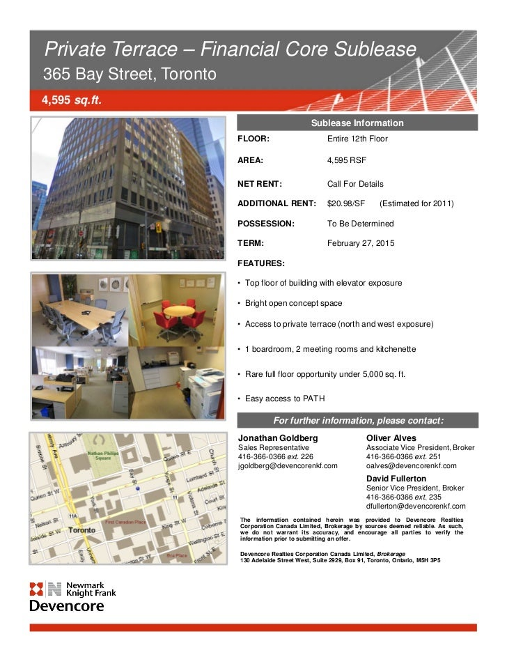 Private Terrace – Financial Core Sublease365 Bay Street, Toronto4,595 sq.ft.                                              ...