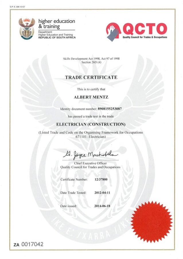 Albert Mentz Section 13 Electrician Certificate