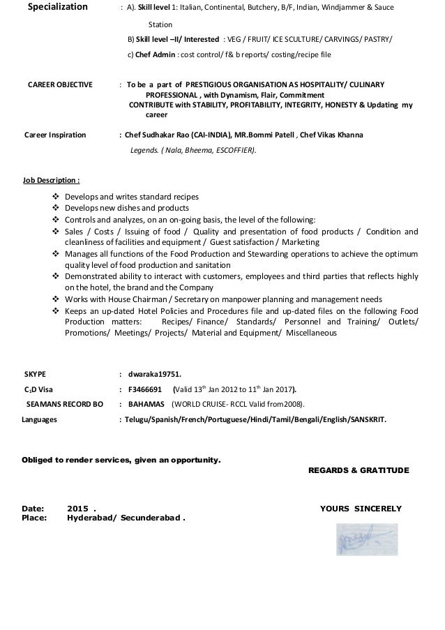 Chef Resume Cover Letter