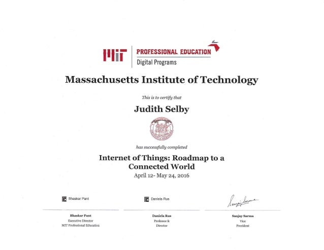 Mit Certificate Internet Of Things April 12 May 24 2016
