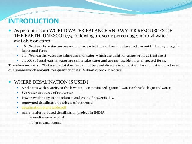 INTRODUCTION  As per data from WORLD WATER BALANCE AND WATER RESOURCES OF THE EARTH, UNESCO 1975, following are some perc...