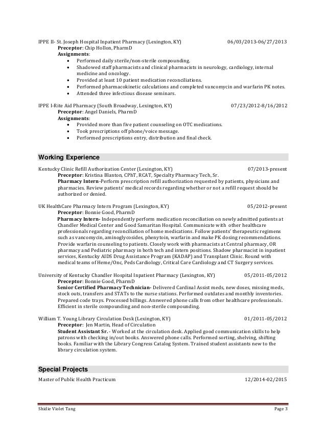 tang_shidie resume - Pharmacy Intern Resume
