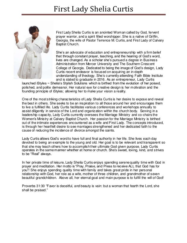 first lady shelia curtis bio