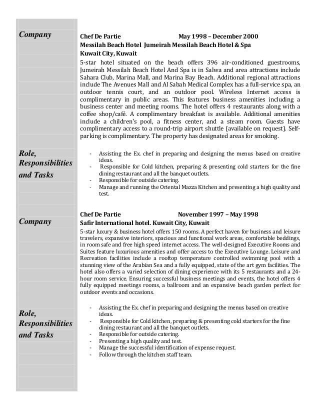 Duties Of A Chef. Executive Chef Job Description Job Title ...